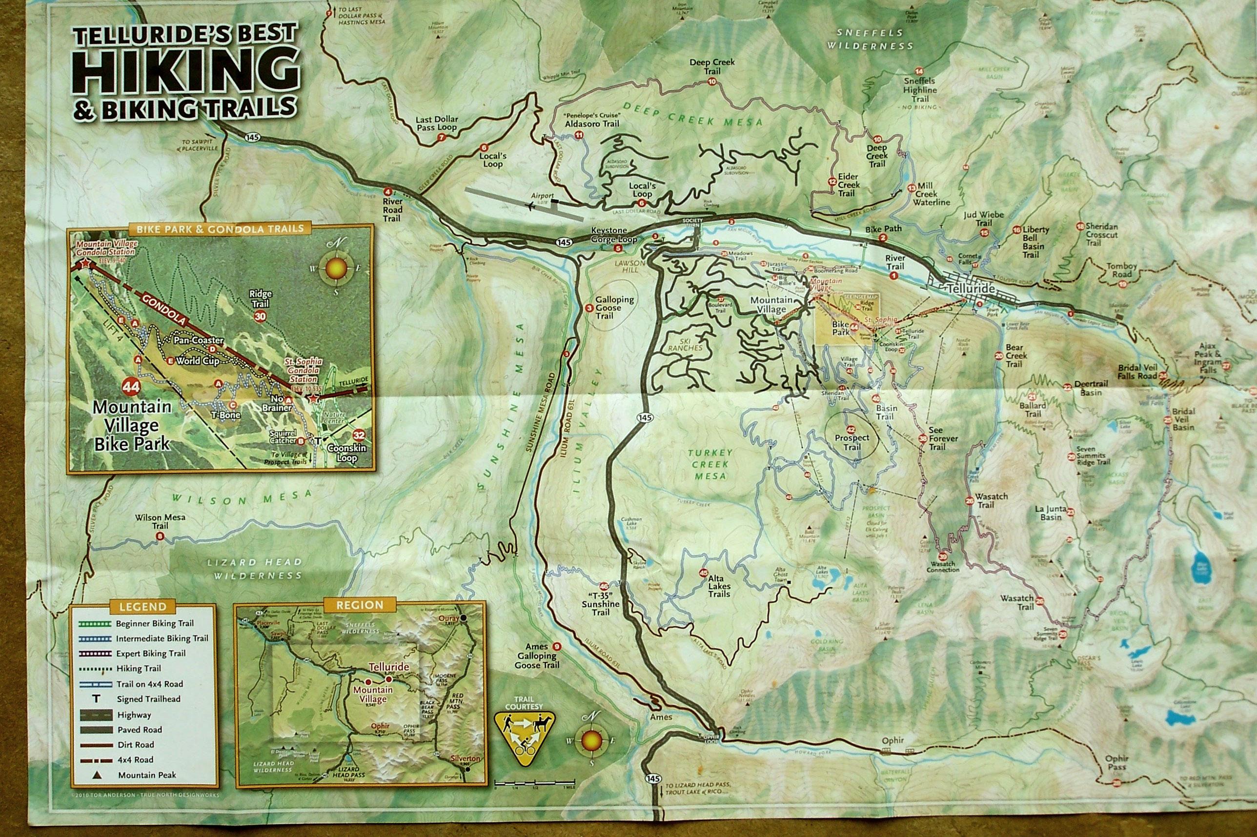 telluride's best hiking and biking trails . bob burd's trip reports